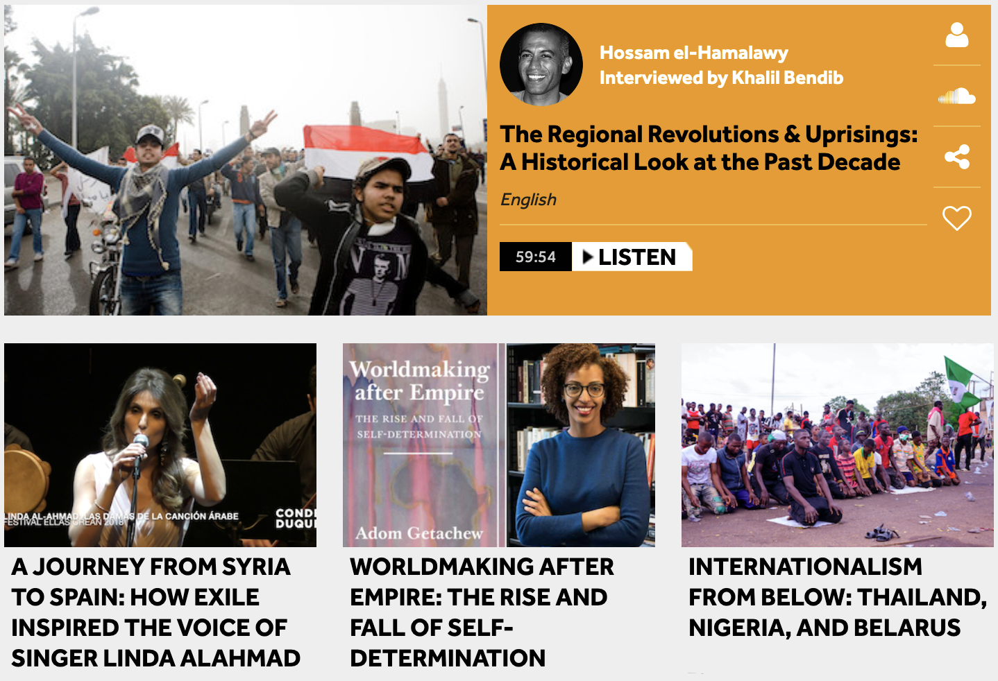 A screenshot of the Status website, featuring images of protests in the Arab Uprisings, Linda Alahmad performing a song, Adom Getachew and her new book, and prayers during the protests against police brutality in Nigeria