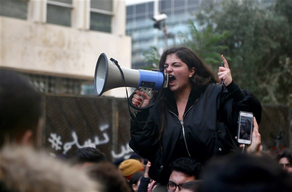Beirut, Lebanon: Protesters gather at central bank. Lebanon is plunged in its worst economic crisis and deflation has risen in a country with one of the world's major foreign debts (30 December 2019). Photo by Karim naamani via Shutterstock.